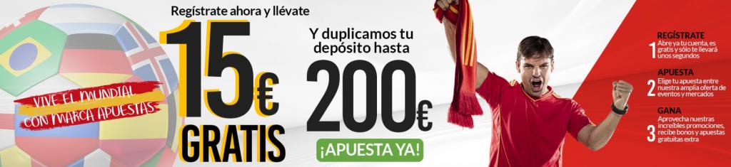 15€ gratis con tu registro en Marca Apuestas