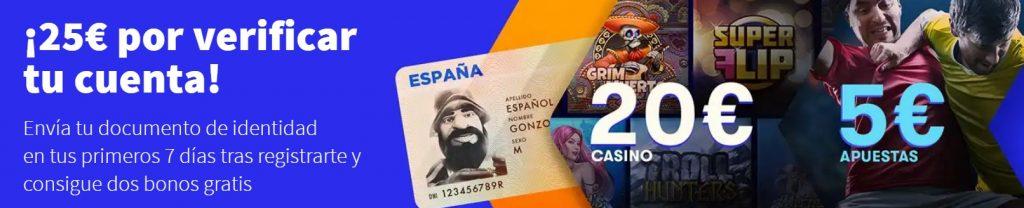 20€ para casino + 5€ para apuestas gratis por verificar tu cuenta en betsson